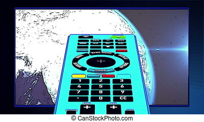 Remote controller in cartoon-style and tv set in background.