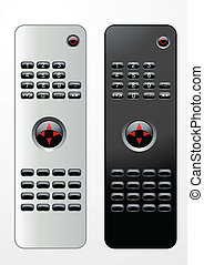 Remote controls - Black and white editable vector remote...