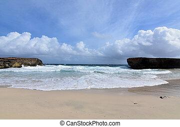 Remote Desolate Scenic Beach with Waves in Aruba