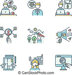 Remote employees RGB color icons set. Creative and graphic ...