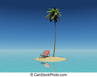 Remote Island - 3d render of a tiny island with a coconut...