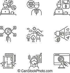 Remote jobs pixel perfect linear icons set. Creative and ...