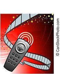 Remote on Film Reel Background