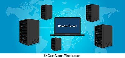 remote server connecting manage computer online world wide...