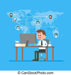 Remote team working concept vector. Work from home illustration in flat style. Business control and project management. Freelance job.