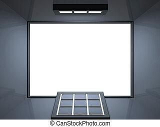 Remote theatre - silver blue - Blank screen cinema with ...