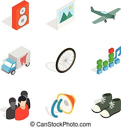 Remote trade icons set, isometric style