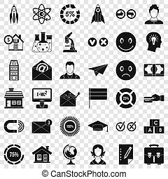 Remote training icons set, simple style