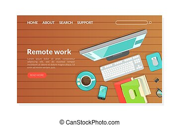 Remote Work Landing Page Template, Top View of Workplace, Working from Home Homepage, Website Flat Vector Illustration