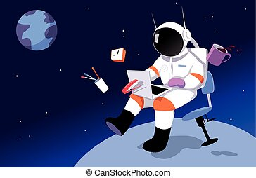 Remote worker - An astronaut working in on a laptop in zero...