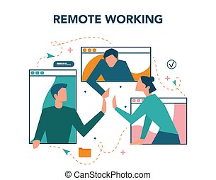 Remote working concept. Telework and global outsourcing, ...