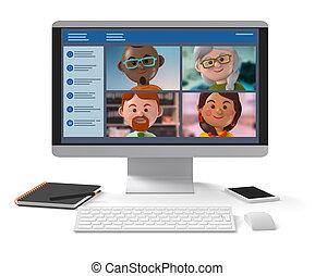 Remote working teams meeting online via desktop application 3d