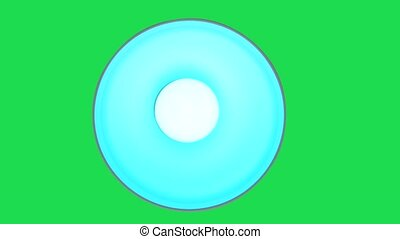 Remotely controlled LED bulb change colors inside of lamp, view from above against green chroma key background.
