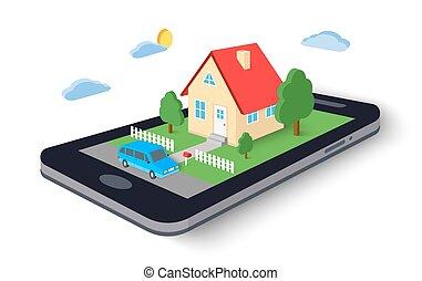 Controllo smartphone remoto icona controllo for Aprire piani casa concetto