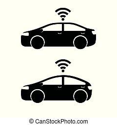 remoto, coche, sistema, vehículo, frente, intuir, elegante, ...