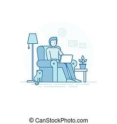 remoto, indipendente, ufficio casa, lavoro, concetto