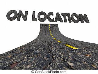 remoto, local trabalhando, ilustração, localização, palavras, estrada, 3d