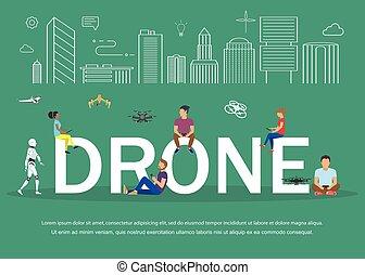 remoto, pessoas, jovem, ilustração, tendo, zangão, ventilador, quadrocopters., tocando