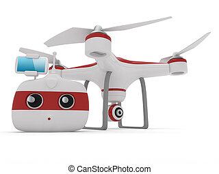 remoto, quadrocopter, zángano, controlador, cámara, radio, w