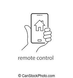 remoto, telefono, icon., eps, mobile, presa a terra, controllo, mano, home., far male, 10., controlli