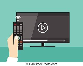 remoto, tv guardante, schermo, mano, fili, controllo, video, presa a terra, film