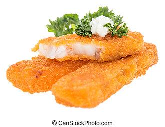 remoulade, fish, smażył, stos