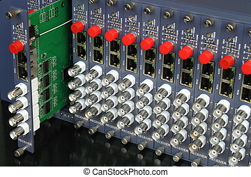 removable card of fiber optic video converters rack - fiber...
