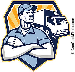 Removal Man Moving Delivery Van Crest Retro - Illustration...