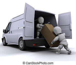 removal men loading a van - 3D render of removal men loading...