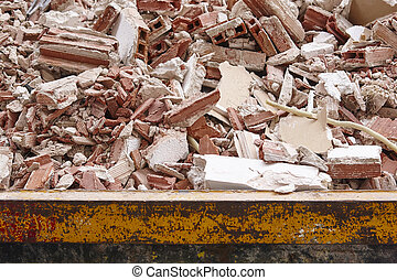 Removal of debris. Construction waste. Building demolition. Devastation