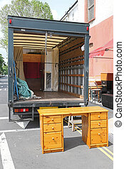 Removal truck - Open rear end of moving furniture truck