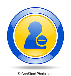 remove contact blue and yellow web glossy round icon