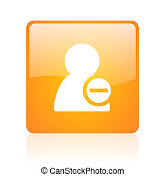 remove contact orange square glossy web icon