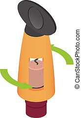 Remove cork from bottle icon, isometric style - Remove cork...