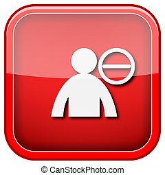 Remove friend icon - Square shiny icon with white design on ...