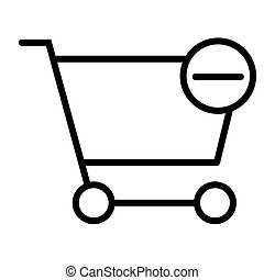Remove Items from Shopping Cart Pixel Perfect Vector Thin Line Icon 48x48. Simple Minimal Pictogram