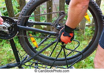 remove the Bicycle wheel, to repair the bike, install the wheel