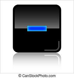 Remove web icon - Remove - Black and blue glossy web icon