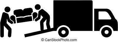 Remover mover with truck carrying a sofa