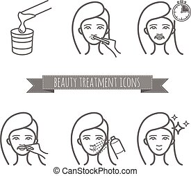 Removing facial hair by using sugaring or strip wax. Beauty...
