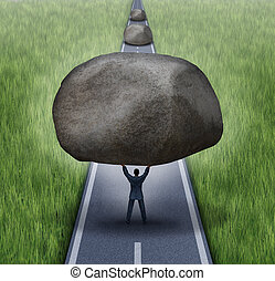 Removing obstacles business concept as a businessman clearing a path to success by removing large rocks from a road that are blocking the journey to success as a symbol of financial guidance and freedom.