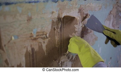 Removing old wallpaper from the wall using a stripping tool