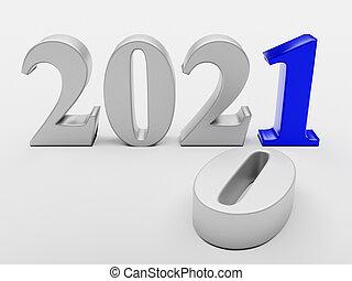 remplace, 2021, nouveau, vieux, année, 2020