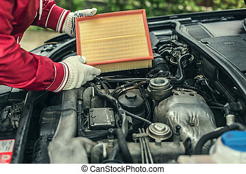 remplace, auto, filter., air, mécanicien, car's
