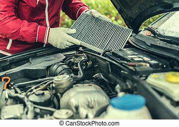 remplace, auto, filter., mécanicien, intérieur, car's