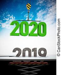 remplace, porté, nombre, illustration, 2020, grue, 2019., 3d