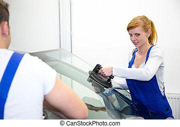 remplace, voiture, vitrier, garage, pare-brise, pare-brise, ou