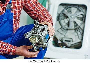 remplacer, moteur, machine, lavage