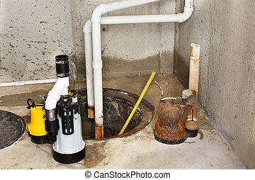 remplacer, pompe, sump, vieux, sous-sol