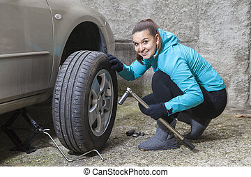 remplacer, voiture, girl, joli, pneu